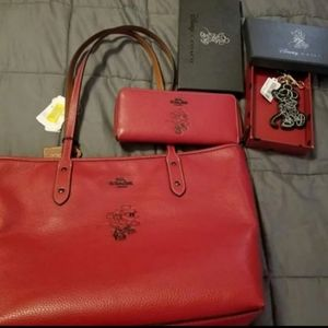Disney Coach purse, wallet, and key chain